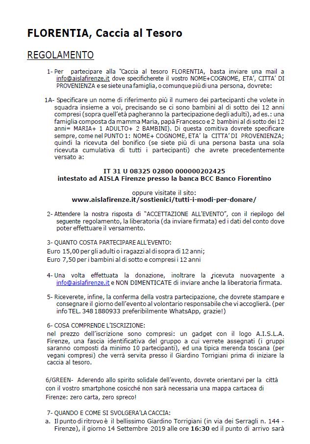 Florentia - Caccia al Tesoro - Regolamento parte 1