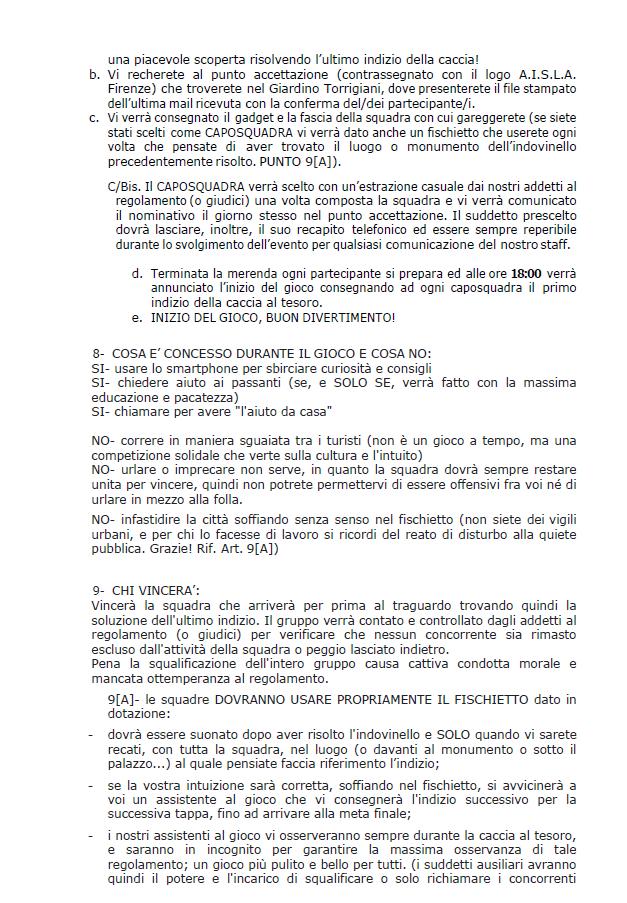 Florentia - Caccia al Tesoro - Regolamento parte 2