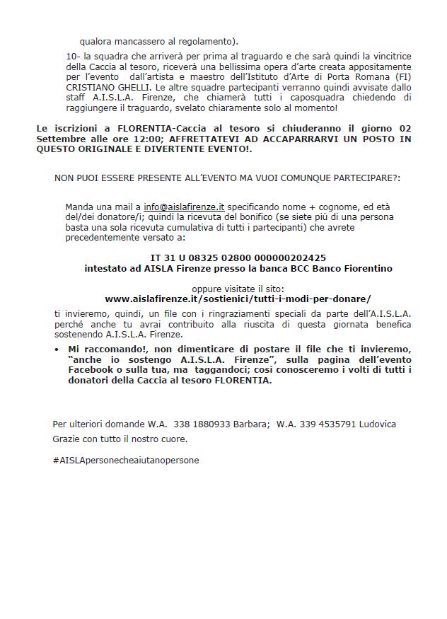 Florentia - Caccia al Tesoro - Regolamento parte 3