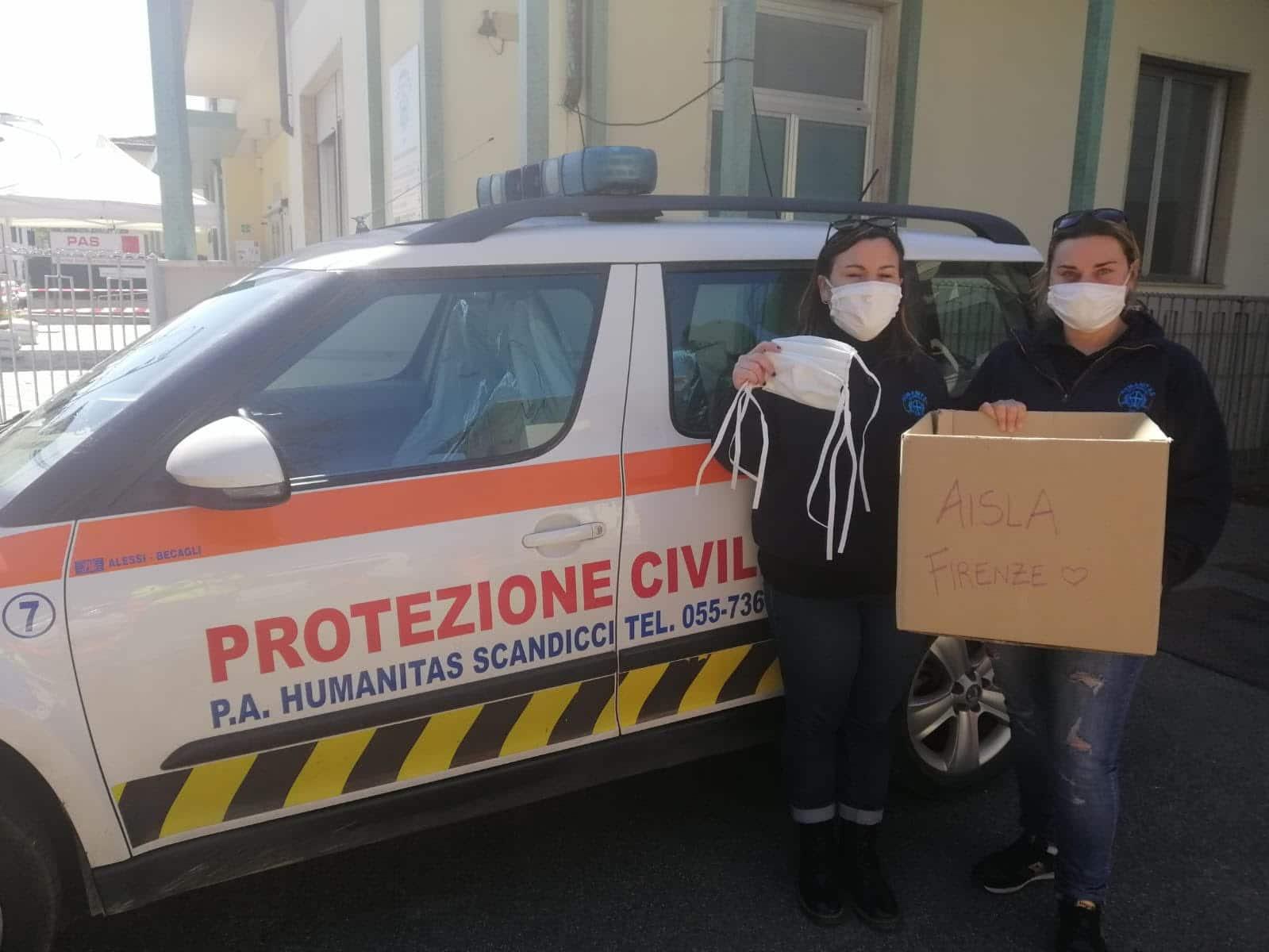 Humanitas Scandicci, consegna mascherine per AISLA Firenze